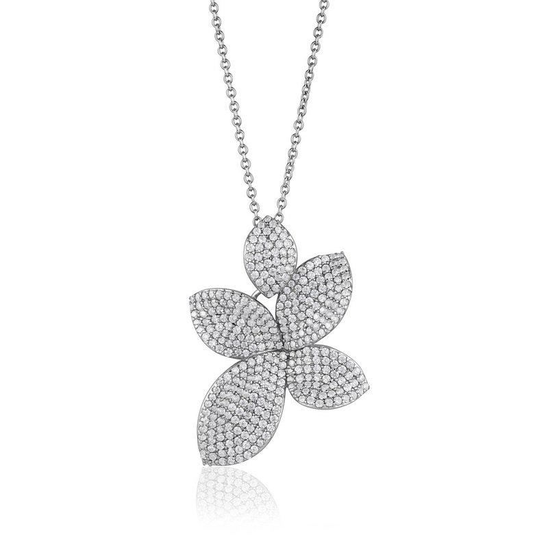 LARUS Jewelry Sparkling Flower Necklace