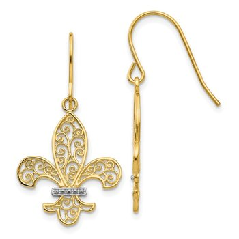 14k & Rhodium Fleur de lis Shepherd Hook Earrings