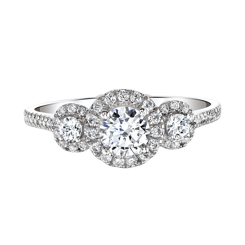 Love Story Three-Stone Halo Engagement Ring by Love Story