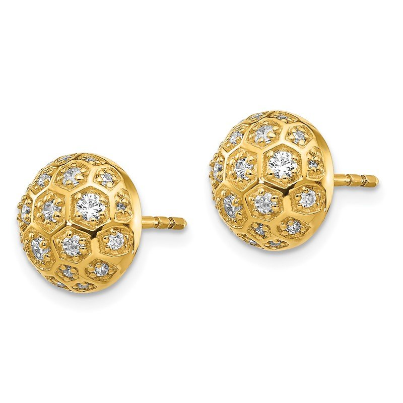Quality Gold 14k Diamond Honeycomb Earrings