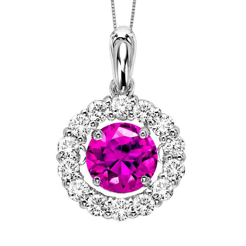 Rhythm of Love 14K Diamond Rhythm Of Love Pendant 1 1/4 ctw (1 ct HP HT Pink Center)
