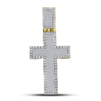 10kt Yellow Gold Mens Princess Round Diamond Inset Christian Cross Charm Pendant 1-3/4 Cttw