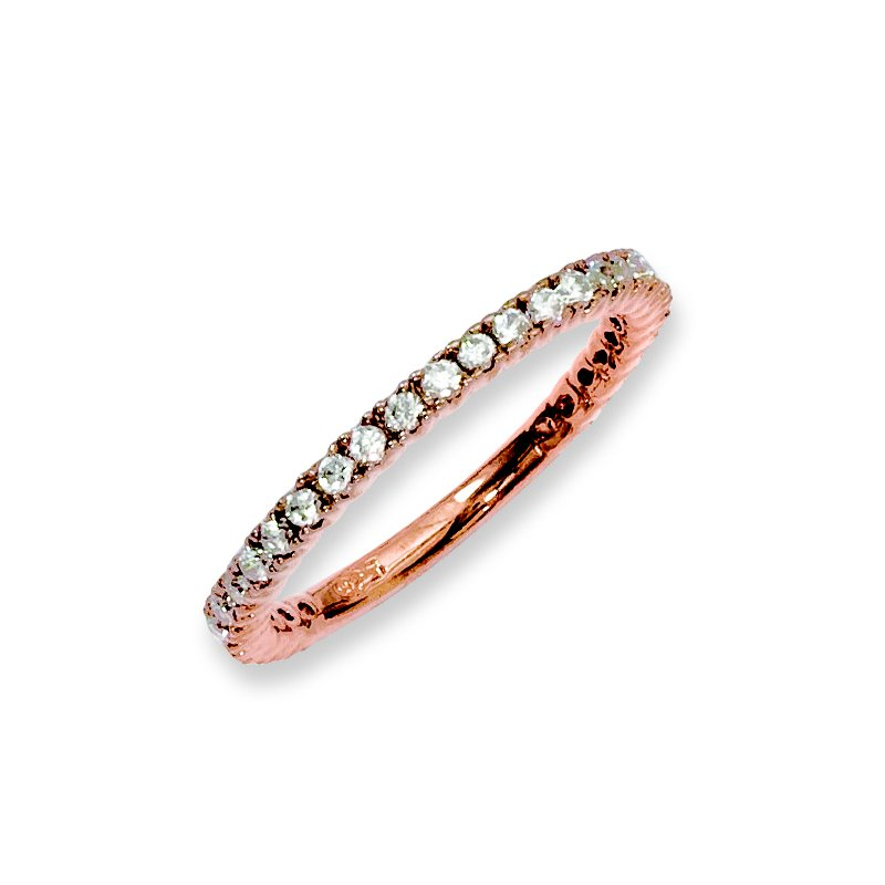 Quality Gold Sterling Silver Rose Gold-plated 32 Stone CZ Ring