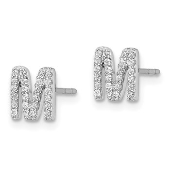 14k White Gold Diamond Initial M Earrings