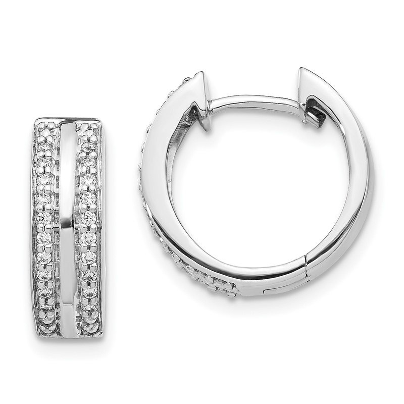 Quality Gold 14k White Gold 2-row Diamond Hinged Hoop Earrings