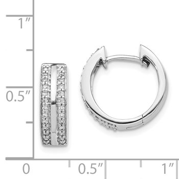 14k White Gold 2-row Diamond Hinged Hoop Earrings
