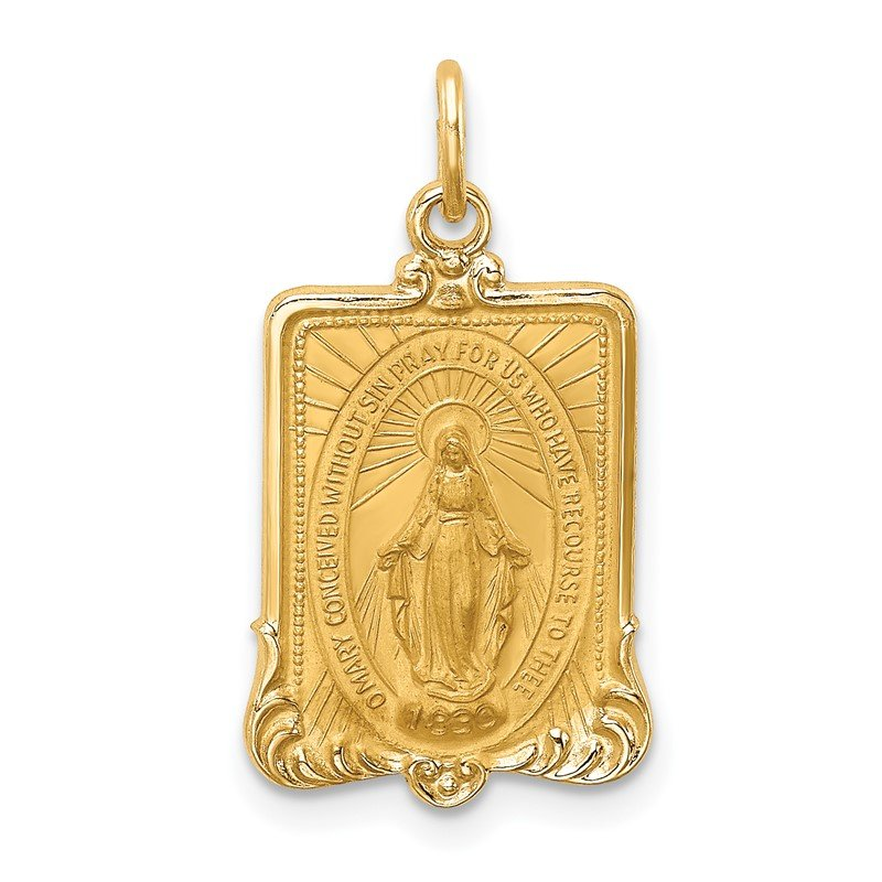 Quality Gold 14K Solid Polished/Satin Rectangle Framed Miraculous Medal