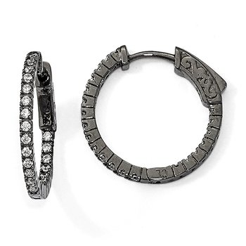 Sterling Silver Black-plated In & Out CZ Round Hoop Earrings