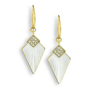 White Art Deco Wire Earrings.18K -Diamonds
