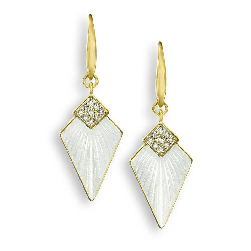 Nicole Barr Designs White Art Deco Wire Earrings.18K -Diamonds