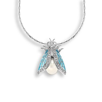 Blue Cicada Necklace.Sterling Silver-White Sapphire - Plique-a-Jour