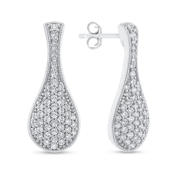 Round Cut Diamond Cluster Drop Earrings