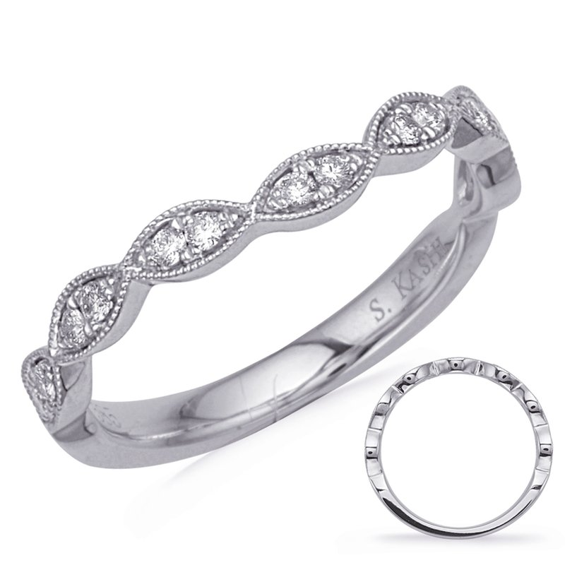 S. Kashi & Sons Bridal White Gold Matching Band Curved