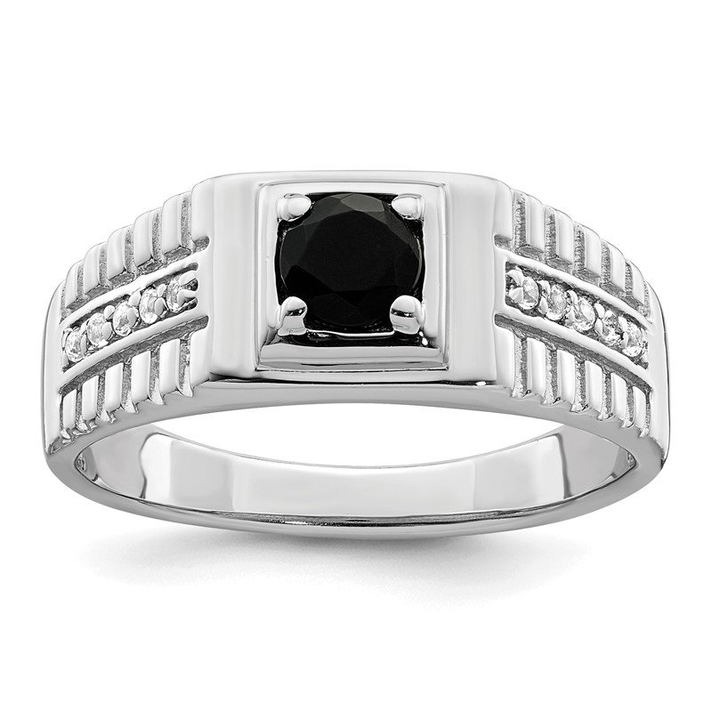 Quality Gold Sterling Silver Men's Onyx and White Topaz Ring