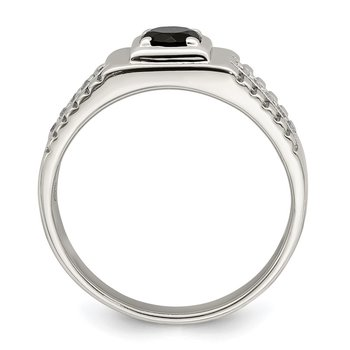 Sterling Silver Men's Onyx and White Topaz Ring