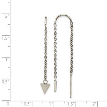 Stainless Steel Polished Triangle Dangle Threader Earrings