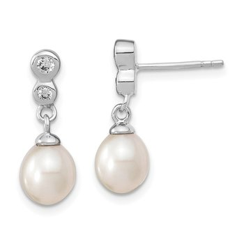 Sterling Silver RH 7.25mm Rice FWC Pearl CZ Post Dangle Earrings