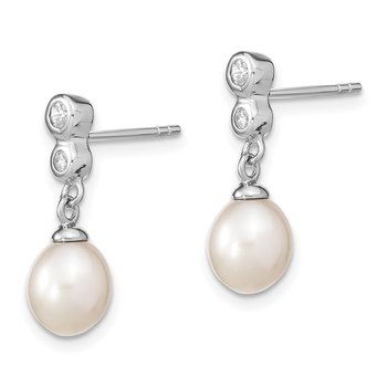 Sterling Silver Rhodium-plated 7.25mm Rice FWC Pearl CZ Dangle Earrings