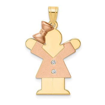 14k Two-tone AA Diamond Kid Pendant