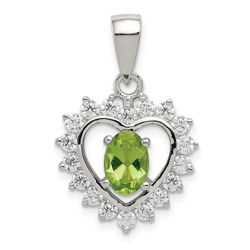 Quality Gold Sterling Silver Peridot & CZ Pendant