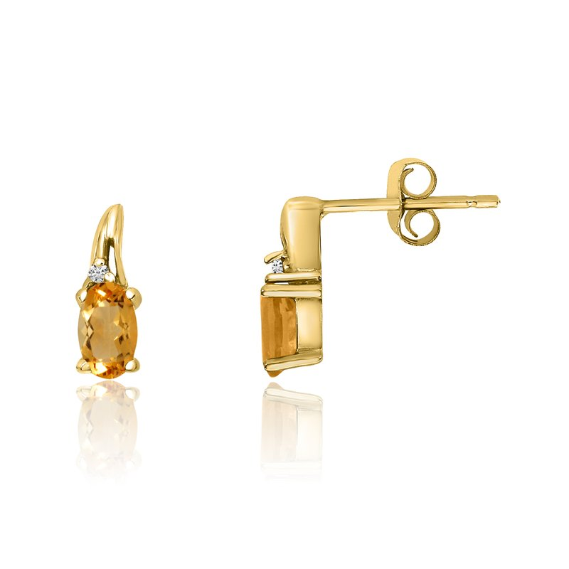 Color Merchants 14k Yellow Gold Citrine and Diamond Earrings