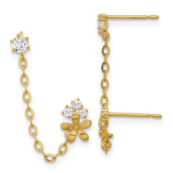 14k Madi K CZ Double Post w/Chain Flower Earring