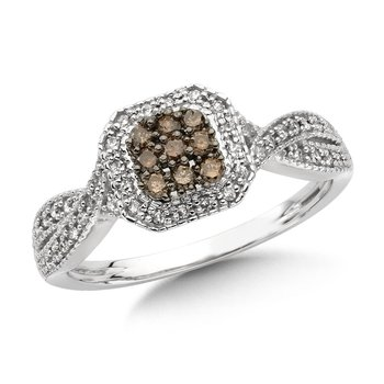 Pave set,  Cognac and White Diamond Cluster Ring with a  Bypass Design set in 10k White Gold (3/8 ct. tw.)