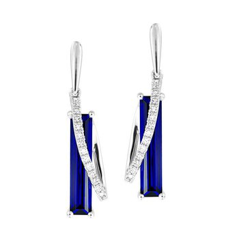 Blue Sapphire Earrings-CE4382WBS