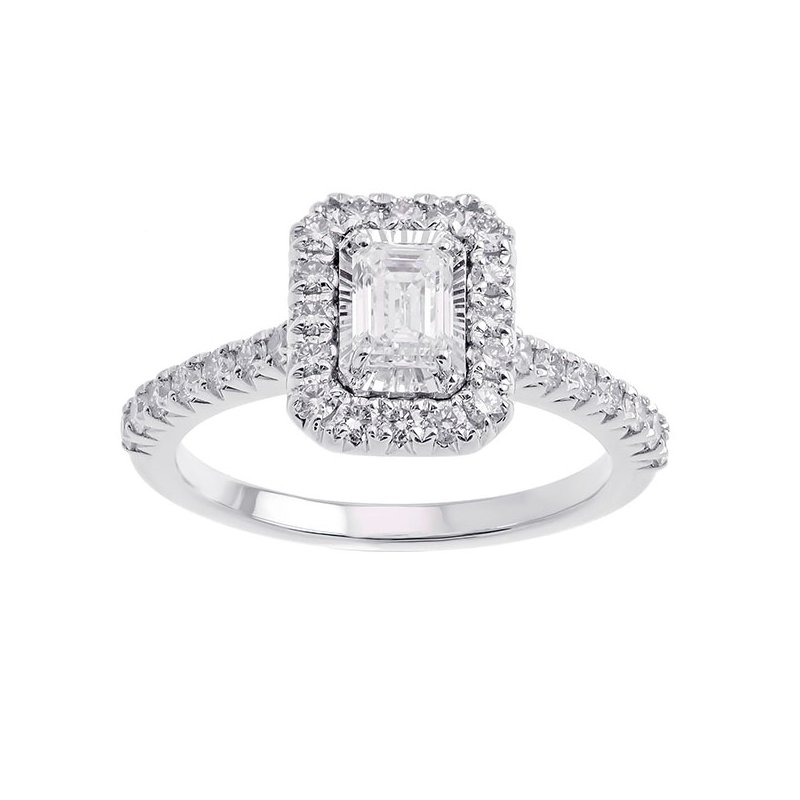 Gems One Emerald Cut Starburst Halo Diamond Engagement Ring in 14k White Gold (1ctw)