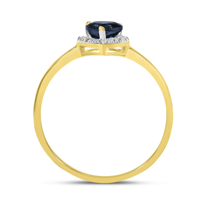 Color Merchants 10k Yellow Gold Pear Sapphire And Diamond Ring