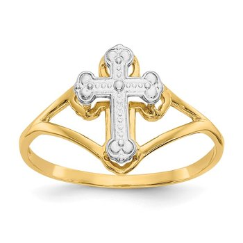 14k w/Rhodium Cross Ring