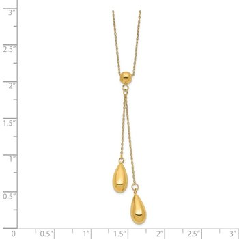 14k Polished Dangle Bead Necklace