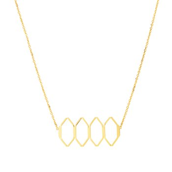 14K Gold Honeycomb Linear Necklace