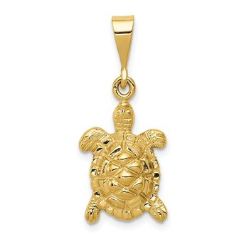14k Solid Polished Open-Backed Sea Turtle Charm