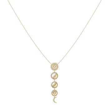 Moon Phases Necklace in 14 KT Yellow Gold Vermeil on Sterling Silver