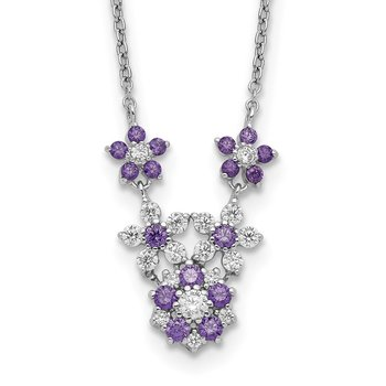 Sterling Silver Purple and Clear CZ Flower Necklace