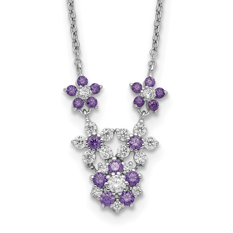 Fine Jewelry by JBD Sterling Silver Purple and Clear CZ Flower Necklace