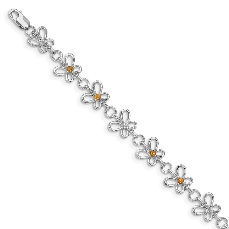 Quality Gold Sterling Silver Rhodium-plated Citrine & Diamond Bracelet