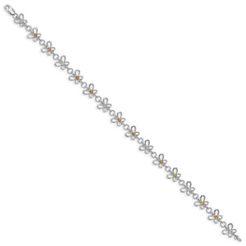 Sterling Silver Rhodium-plated Citrine & Diamond Bracelet