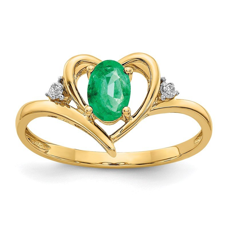 Quality Gold 14k Emerald and Diamond Heart Ring