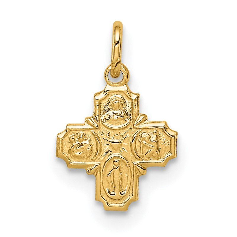 Quality Gold 14k Solid Polished Tiny 4-Way Medal