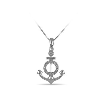 925SS and diamond Anchor pendant in prong and bezel setting