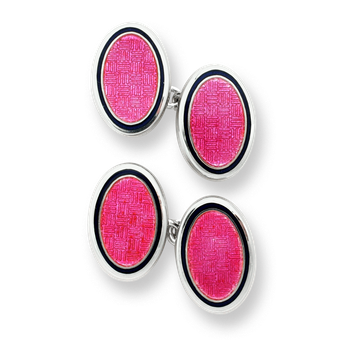 Sterling Silver Oval Chain Link Cufflinks-Pink