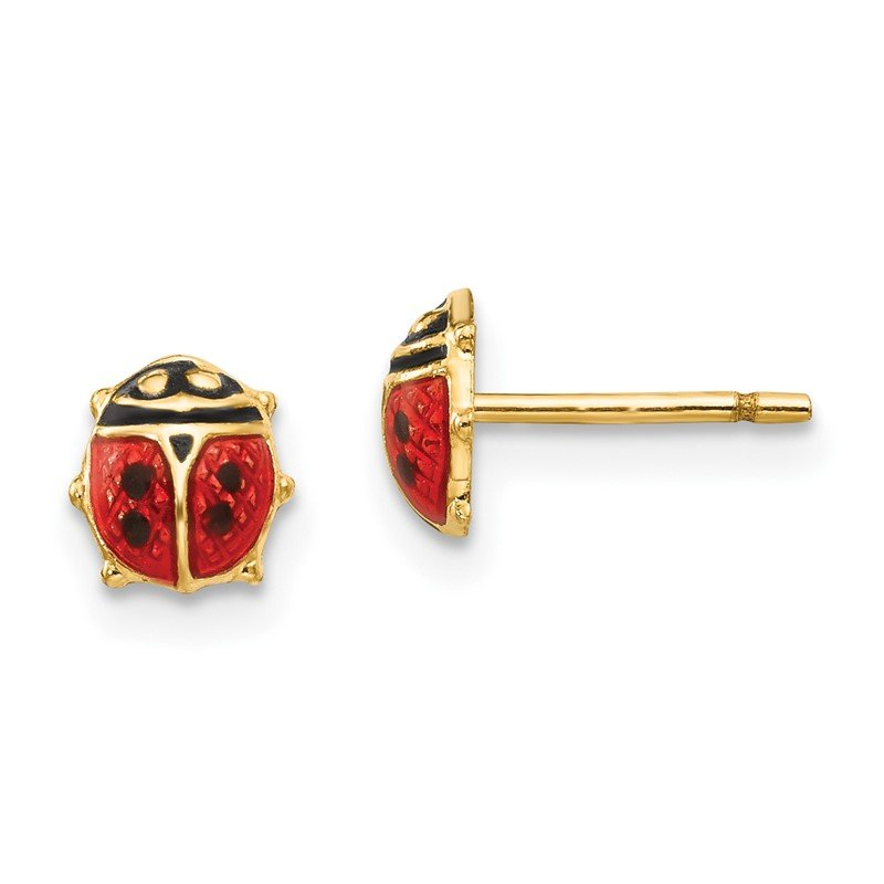 Quality Gold 14K Madi K Enamel Ladybug Post Earrings
