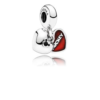 Disney, Mickey Minnie Dangle Charm, Red Enamel
