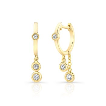 Yellow Gold Diamond Bezel Dangling Huggie Hoops