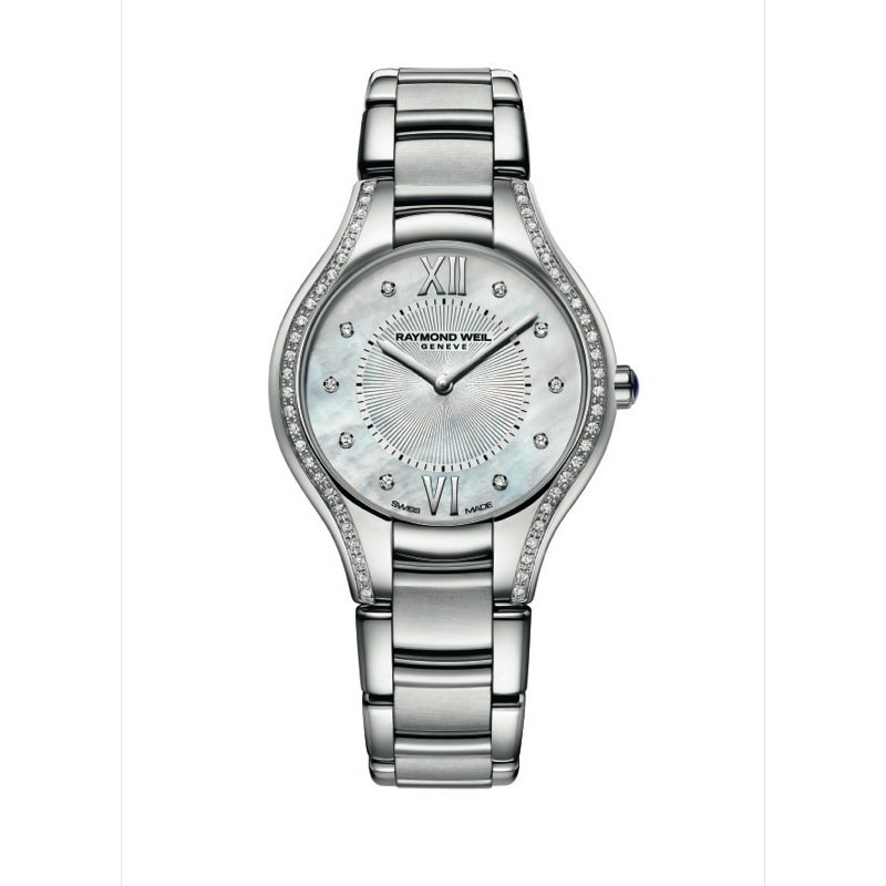 Raymond Weil Ladies Quartz Watch, 32 mm Steel on steel 62 diamonds