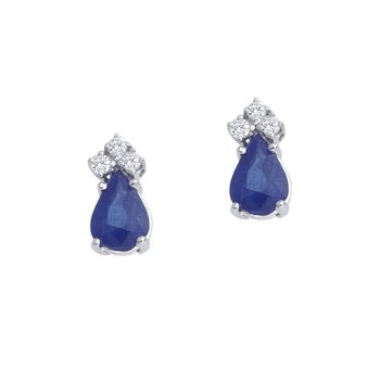 14k White Gold Sapphire And Diamond Pear Shaped Earrings