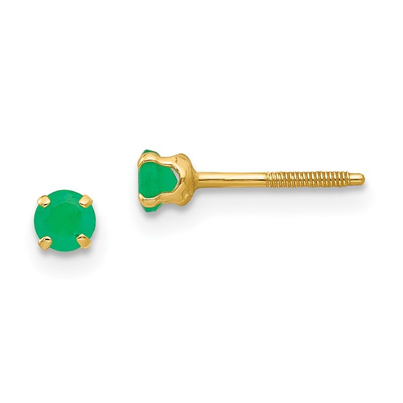 Quality Gold 14k Madi K 3mm Emerald Earrings