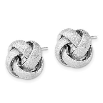 Sterling Silver Rhodium-plate Textured Polished Love Knot Earrings